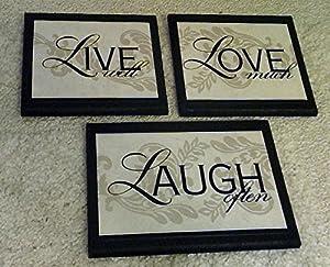 Live Love Laugh Wall Decor Plaques, 3 piece set