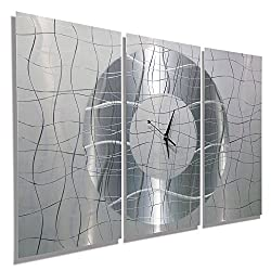 Jon Allen Metal Art - Statements2000 38-Inch-by-24-Inch Metal Wall Clock, Silver and White