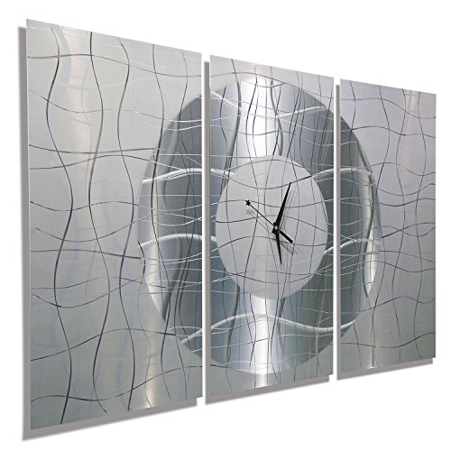 Jon Allen Metal Art -Inch Metal Wall Clock, Silver and White