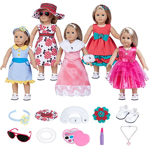 fundolls 18 Inch Doll Clothes, Doll Accessories for American Girl, Doll Outfits with 5 Pcs Dress Set,11 Pcs Matching Doll Accessories,1 Pair of Shoes ()