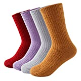 Beauttable Plain Fluffy Socks,Cozy Fuzzy Thick Soft Winter House Socks,Lightweight Warm Crew Sox,Slipper Microfiber for Lovers Sweetheart and Couples (Woman)