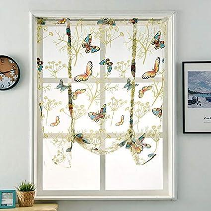 Demarkt Stickerei Blumen Transparent Gardine Vorhang Raffgardinen Raffrollo Schlaufenschal Deko Schmetterlingsmuster
