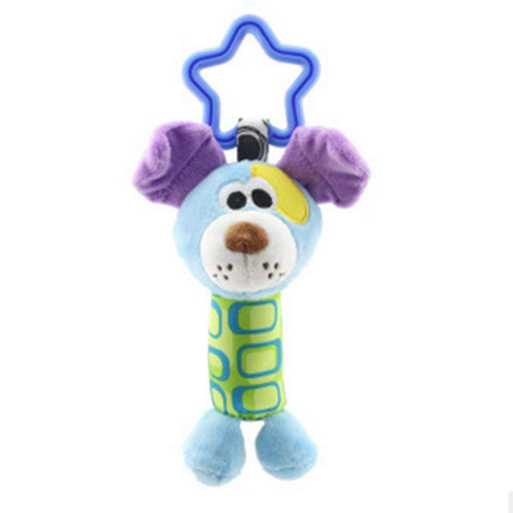 Yevison Infant Baby Rattle Toys, Kids Stroller Hanging Bell, Newborn Baby Car Crib Stroller Handbells Toys Washable Squeaker Car Toys Dog Durable and Useful