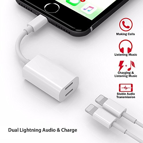 Dual Lightning Adapter and Splitter for iPhone – Audio and Charge iPhone Cable – Compatible with iPhone 7, 7 Plus, 8, 8 Plus, iPhone X – Supports 3.5mm Car AUX and Jack Adapter – Premium Quali