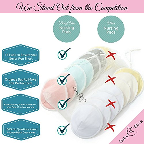 BabyBliss Washable Nursing Pads| Pack Of 14+3 Bonus Items| With 3 Size Variants l Reusable| Soft & Super absorbent | Leak-proof | With Laundry & Organza Bags | Perfect Baby Shower Gift by BabyBliss (Image #3)'