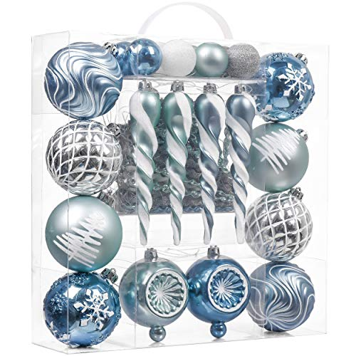 Valery Madelyn 60ct Winter Land Shatterproof Christmas Ball Ornaments Decoration Silver and Light Blue,1.18Inch-6.3Inch for Christmas Tree Decorations