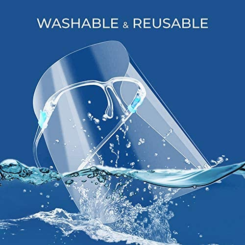 The Essential Goods Reusable Safety Face Shields With Reusable Transparent Anti - Fog Protective Shield & Pair Reusable Glasses To Protect Face & Eyes (Pack of 6 Shield and six Glasses) 12 Pack