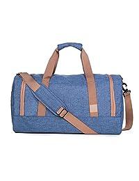 BAGSMART Travel Duffel Bag Large Foldable Weekend Shoulder Handbag overnight bag Gym Bag Carry-on with Shoe Bag 40L, Blue