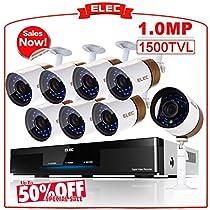 ELEC 16 Channel DVR Video Security System Surveillance, (8) 1500 TVL Indoor/Outdoor Bullet Security Cameras CCTV Alarm Monitoring Support Mobile Remote, 65ft Night Vision,Weatherproof -No Hard Drive