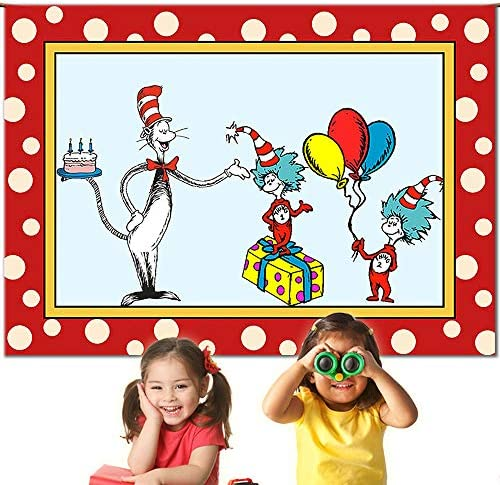 Cartoon Red Border Birthday Party Backdrop Banner Dr. Seuss Backdrop Cat in The Hats Background Kid Birthday Party Decoration Banner Supplies Thing 1 and Thing 2 Backdrop for Birthday Party 7x5ft