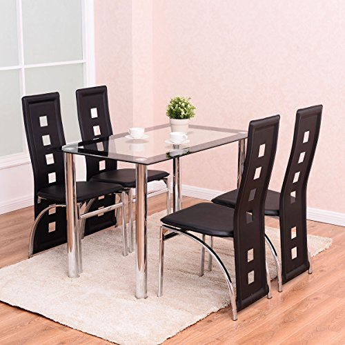 Tangkula 5 PCS Dining Table Set W/ Glass Top and 4 Chairs Home Dinette Furniture by Tangkula