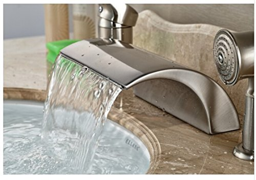 Gowe Luxury Nickel Brushed Bathroom Deck Mounted Waterfall Basin Faucet Sink Mixer Tap With Hand Shower 3