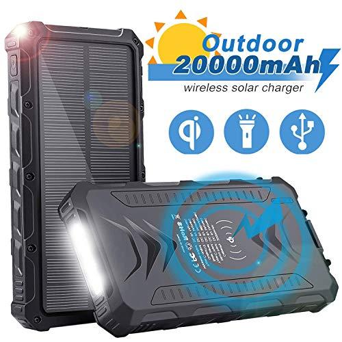 Sendowtek Batería Externa Solar 20000mAh, Batería Portátil Solar Power Bank con Cargador USB/USB C/Qi Wireles para…