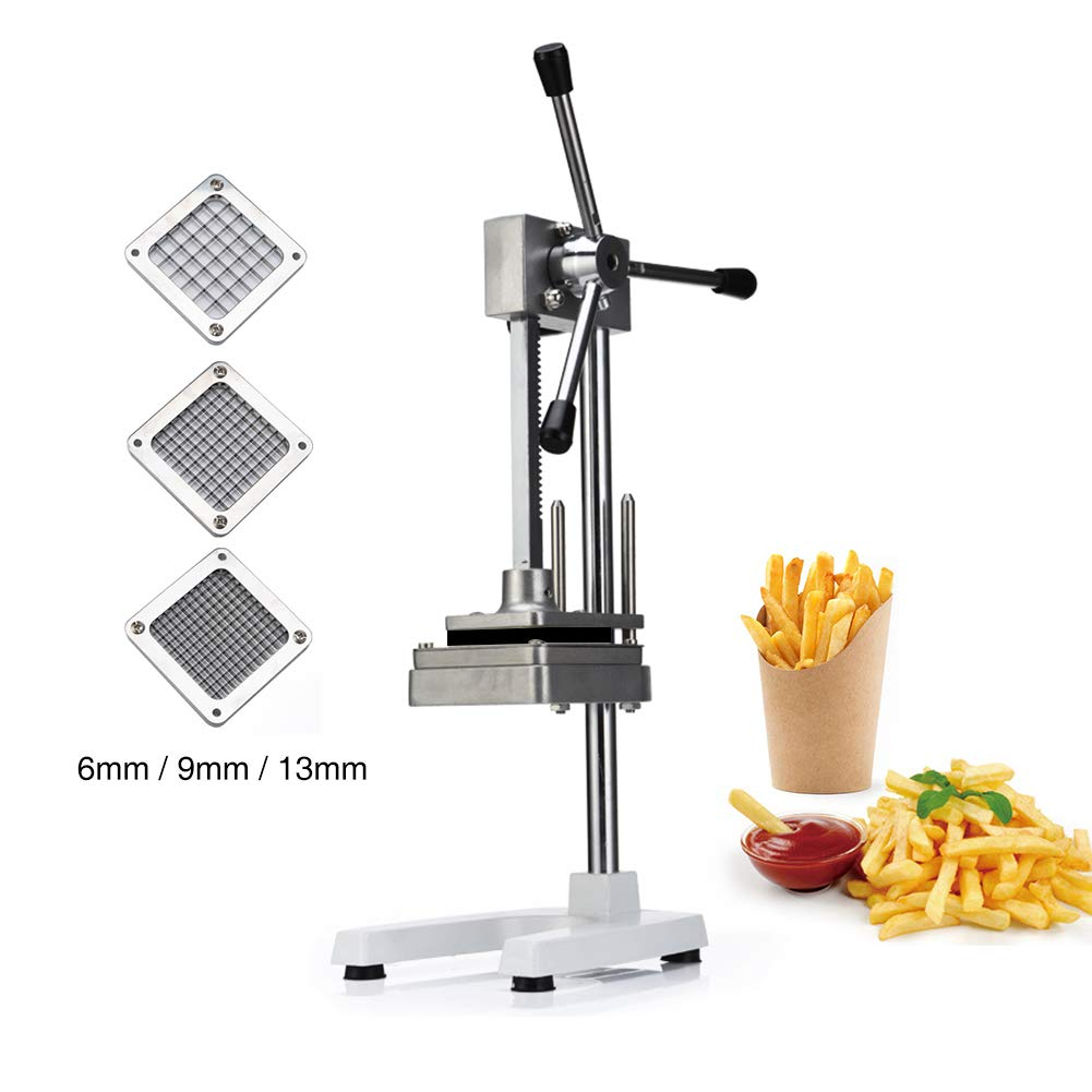 Manual Fries Machine Vertical Fried Potato Strips Slicer Multipurpose Commercial Home Fruit Vegetable Cutters with 6mm/9mm/13mm Stainless Steel Blades by CARIHOME (Image #1)
