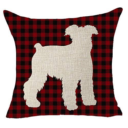FELENIW Classic Retro Christmas Red and Black Buffalo Checkers Plaids Lattice Animal Dog Schnauzer Shadow Cotton Linen Decorative Throw Pillow Cover Cushion Case 18x18 inches (Schnauzer Pillow)