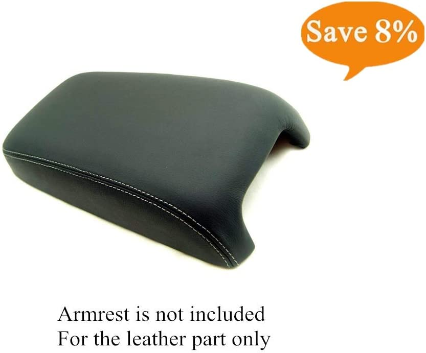 Fits 2008-2010 Chrysler 300 Black Leather Console Lid Armrest Cover RED Stitch