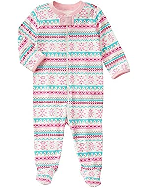 Baby Pink Fairisle Footed Onepiece