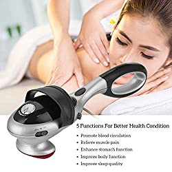 BelleLotus Electric Back Handheld Massager,Neck Shoulder Deep Tissue Percussion Massage,Vibration Massage + Infrared Light Heating,Powerful Motor and Infinite Speed Adjustment