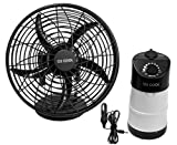 O2 Cool Portable Tent Fan with Emergency Device Charger and Auto Adapter