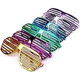 S/O® 12er Pack Partybrille metallic 6 Farben Partybrillen Bunt Gitterbrille Spaß Spass Brille Atzen Brillen Party Brille