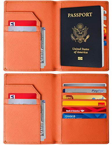 RFID Blocking Passport Holder - Genuine Leather RFID Passport Holder - Slim Passport Wallet Cover Case (Orange)