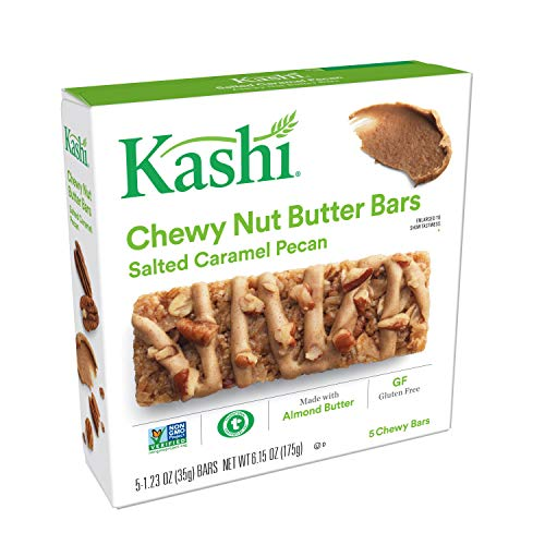 Kashi, Chewy Nut Butter Bars, Salted Caramel Pecan, Gluten Free, Non-GMO Project Verified, 6.15 oz (5 Count)(Pack of ()
