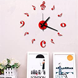 Ussuperstar Acrylic Crystal Music Note DIY Silent Non-ticking Wall Clock Home Decor Wall Sticker for Bedroom Living Room Office Hotel Gift