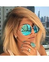 XXL Halo Double Wire Oversized Big Round ROXANNE Bohemian Coachella Sunglasses Color Gold Turquoise Mirror