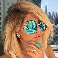 XXL Halo Double Wire Oversized Big Round ROXANNE Bohemian Coachella Sunglasses Color Gold...