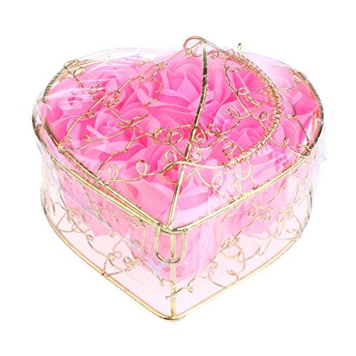 紀元前コース頭痛Kesoto 6個 石鹸の花 バラ 石鹸の花びら 母の日 ギフトボックス ロマンチック 全5タイプ選べる - ピンク