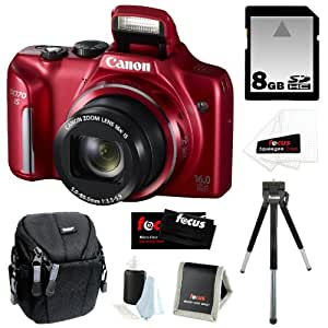 Canon PowerShot SX170 IS 16MP Digital Camera with 16x Optical Zoom and 3-inch LCD in Red + 8GB SDHC + Compact Camera Case + Mini Tripod + Accessory Kit