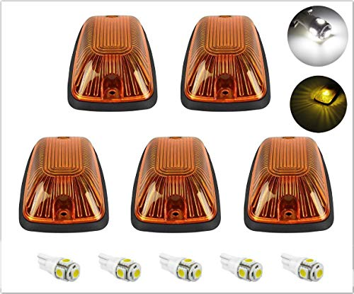 5pcs Smoke Cab Maker 264159BK Roof Running Clearance Light Cover Base +5x White T10 194 168 5050 LED Light Bulbs Replacement For 1988-2002 GMC Chevy C1500 C2500 C3500 K1500 K2500 ()