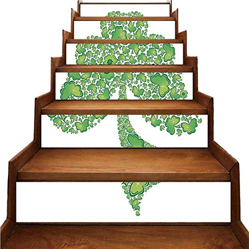 Trinity Patterns (Celtic Nice Stairs Sticker,Irish Shamrock Figure Made with Small Clover Patterns Holy Trinity Symbol Graphic for Home,39.3