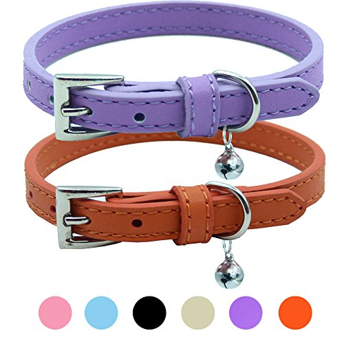 PUPTECK 2 PCS Soft Leather Cat Kitten Collar-Orange, Purple, Black, Khaki, Pink, Blue