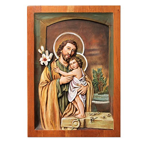 NOVICA 223843 Jesus and Joseph by The Window' Cedar Relief Panel