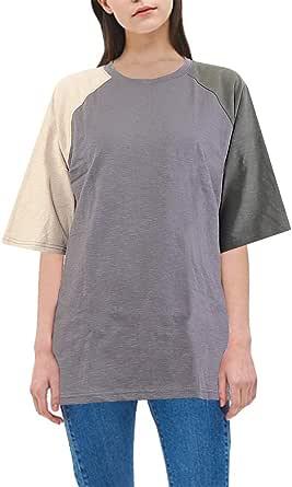 MAJECLO Women's Oversized T-Shirt Cotton Slub Color Block Tops Short Sleeve