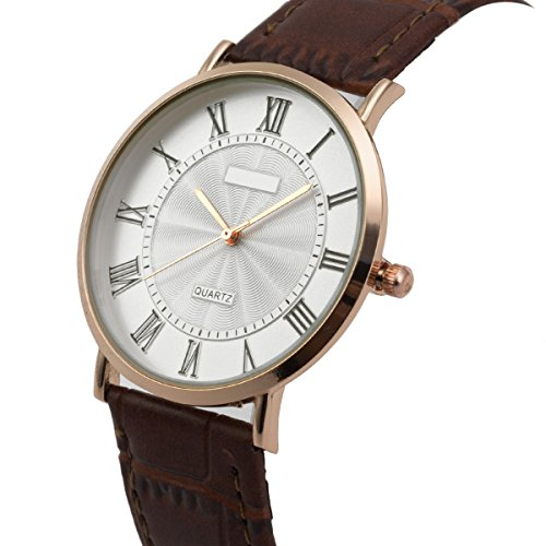 Amazon.com: Wrist Watch Ultra-thin Mens Minimalist Brown SIBOSUN Quartz Leather Strap Classic Roman Numerals Anolog: Watches