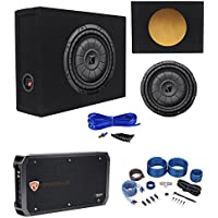 Kicker 43CVT104 COMPVT 800w 10 Shallow Subwoofer+Sealed Box+Amplifier+Wire Kit