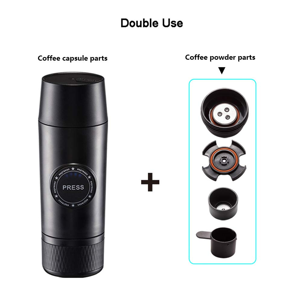 OMZBM Mini 2-in-1 Handheld All in One Espresso Coffee Maker with Hot Extraction Powder&Capsule,Wireless Portable Chargeable Electric Coffee Mechine for Outdoor Travel,Black by OMZBM (Image #1)