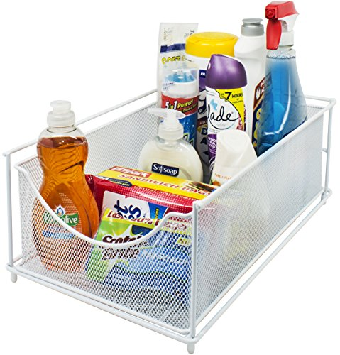 Sorbus Cabinet Organizer Drawers-Mesh Storage Organizer with Pull Out Drawers-Ideal for Countertop, Cabinet, Pantry, Under the Sink, Desktop and More (White Top Drawer)