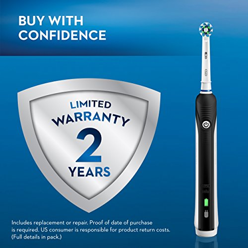 51rq9ikBKZL - Oral-B Black Pro 1000 Power Rechargeable Electric Toothbrush Powered by Braun