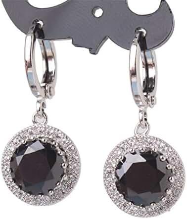 GULICX Silver Tone Round Clear CZ Zircon Rhinestone Party Women Drop Dangle Earrings