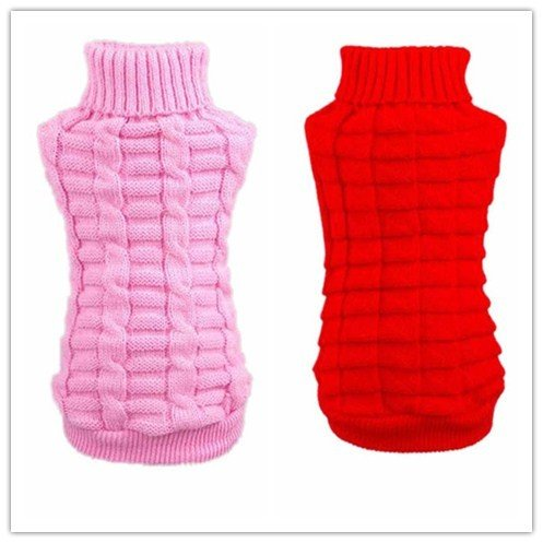 Farjing Clearance Puppy Clothing,Pet Dog Clothes Winter Woolen Sweater Knitwear (M,pink ]()