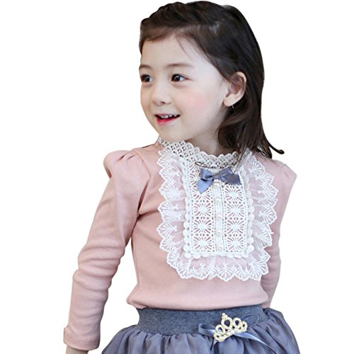 Zhengpin Elegant Baby Kids Girls Bowknot Cotton Lace Long Sleeve Shirt Toddler Blouse ()