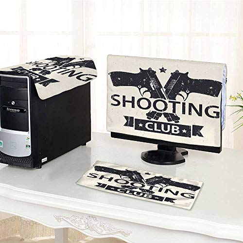 Auraisehome Computer dustproof Three-Piece Club Emblem Sign with Crossed Guns Pistols Grunge Background Hobby Theme Cream Black for LED LCD Screens Flat Panel HD Display /30
