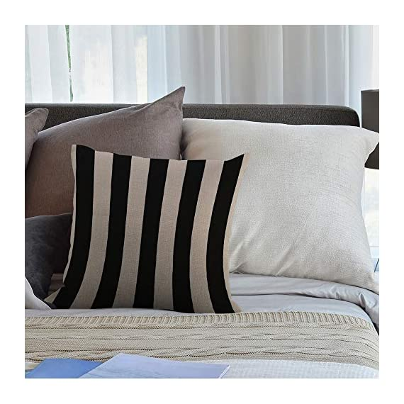 """HGOD DESIGNS Stripes Throw Pillow Cover,Wide Lines Texture Modern Abstract Geometric Striped Monochrome Black White Bands Decorative Pillow Cases Linen Cushion Covers for Home Sofa Couch 18x18 inch - Stripes pillow cover dimensions: 18"""" x 18"""" inch (1-2cm deviation).Please ensure your pillow is suitable for this size.it is easy to install. Stripes pillowcase made of durable high quality cotton linen Burlap material,no peculiar smell,comfortable,breathable,durable and stylish. Stripes decorative pillows pattern is print on the both side.it will decorate your house well,Brings Luxury Look To Your Home Decorative, Living Rooms, Sofa, Couch, Chair, Bedrooms, Offices,Car - patio, outdoor-throw-pillows, outdoor-decor - 51rqA%2Bak69L. SS570  -"""