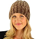 CC Winter Soft Chenille Chunky Knit Stretchy Warm Ribbed Beanie Hat Cap Taupe