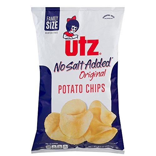 UTZ No Salt Added Original Potato Chips 9.5 Ounces (4 Bags)