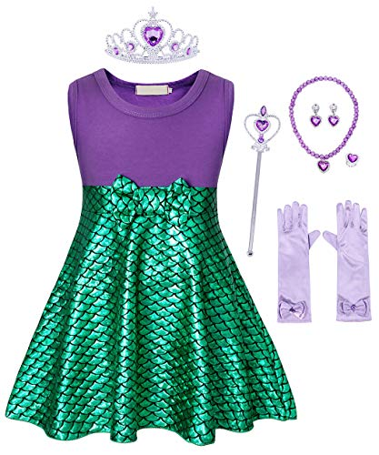 AmzBarley Little Mermaid Dress for Girls Ariel Costume Outfit Toddler Birthday Fancy Party Cosplay Princess Dressing Up Halloween Preschool Role Play Clothes with Accessories Size 3T(2-3Years) -