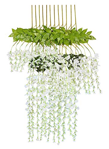 Dedoot Wisteria Artificial Flowers, 12PCS 43 Inch Artificial Silk Wisteria Vine Ratta Fake Wisteria Ivy Garland Hanging Flowers Bush String for Wedding Party Home Outdoor Decor, White